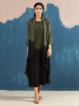 Kiya Ombre Olive Hand-Dyed Linen Dress with Jacket (Set of 2)