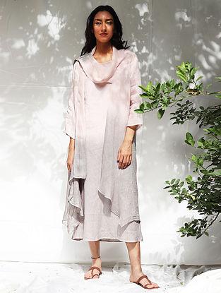 Kiya Ombre Blush Hand-Dyed Linen Dress with Jacket (Set of 2)