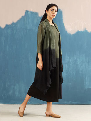 Vai Olive Hand-Dyed Linen Cape