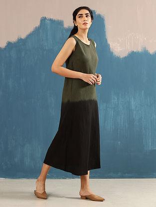 Zen Olive Hand-Dyed Linen Dress