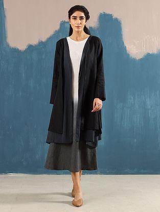 Akari Black Layered Linen Jacket