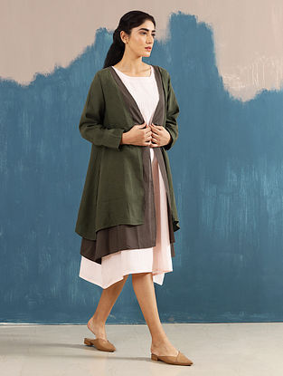 Akari Olive Layered Linen Jacket