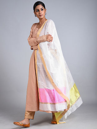White Handwoven Chanderi Dupatta
