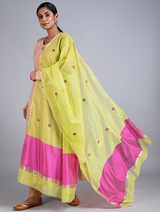 Lime-Pink Handwoven Chanderi Dupatta