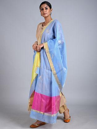 Blue Handwoven Chanderi Dupatta