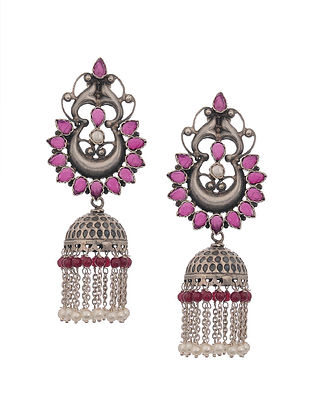 Maroon Silver Earrings with Pearls