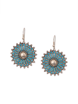 Turquoise Enameled Silver Earrings