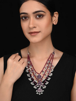 Maroon Silver Necklace with Pearls