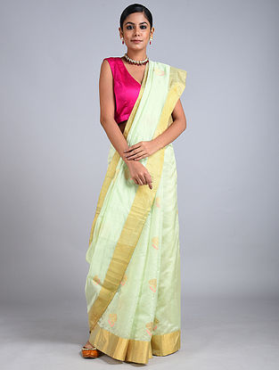 Mint Handwoven Chanderi Silk Saree
