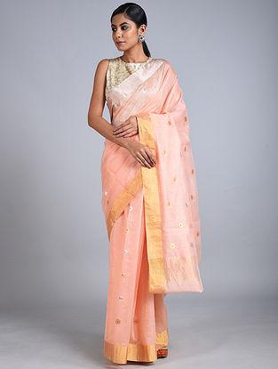 Peach Handwoven Chanderi Saree