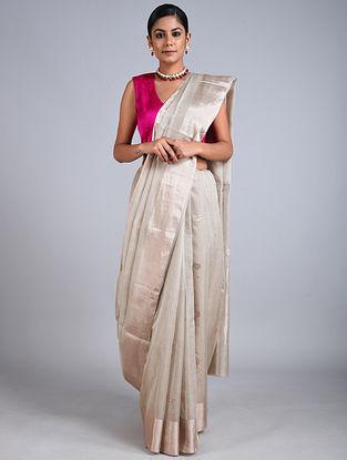 Grey Handwoven Chanderi Tissue Saree