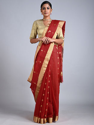 Red Handwoven Chanderi Saree