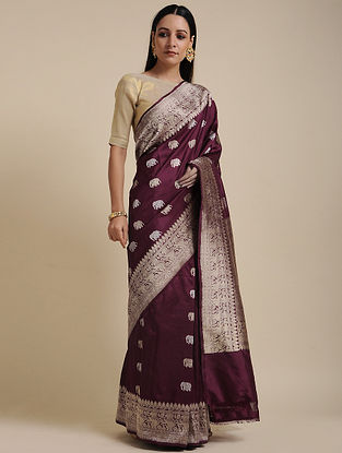 Wine Handwoven Benarasi Silk Saree