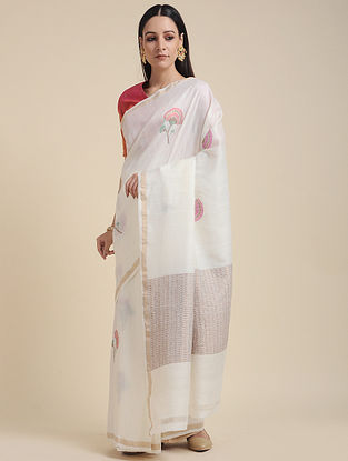 Ivory Handwoven Muga Silk Saree