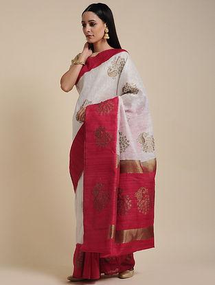 Ivory-Red Handwoven Linen Silk Saree