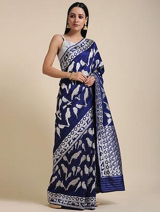 Blue-Silver Handwoven Benarasi Silk Saree