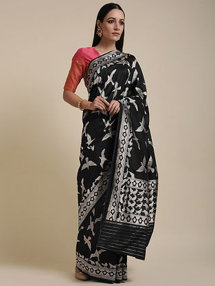Black-Silver Handwoven Benarasi Silk Saree
