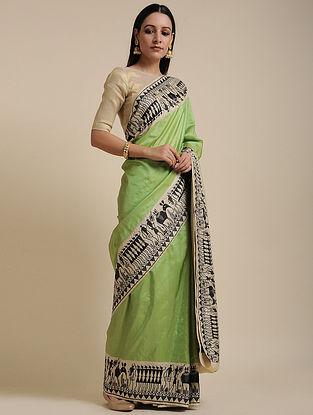 Green-Black Handwoven Benarasi Silk Saree