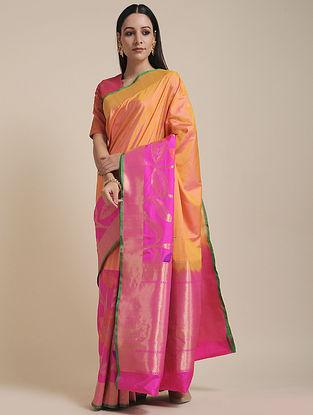 Yellow-Pink Handwoven Benarasi Silk Saree