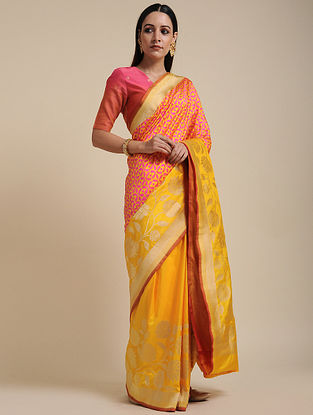 Orange-Yellow Handwoven Benarasi Silk Saree