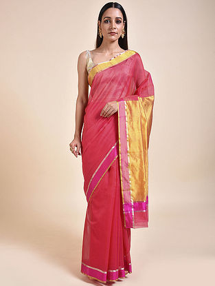 Pink-Gold Handwoven Chanderi Saree