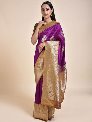 Purple-Gold Handwoven Benarasi Silk Saree