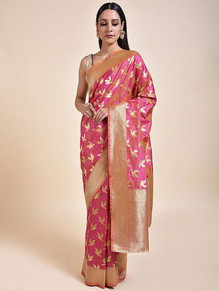 Pink-Gold Handwoven Benarasi Silk Saree