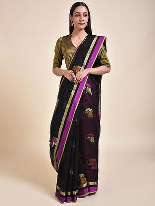 Black-Purple Handwoven Chanderi Saree