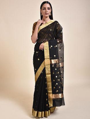 Black-Gold Handwoven Chanderi Saree