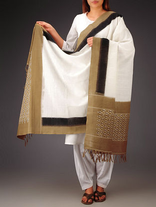 White-Brown-Black Ikat Missing Stripes Cotton Dupatta