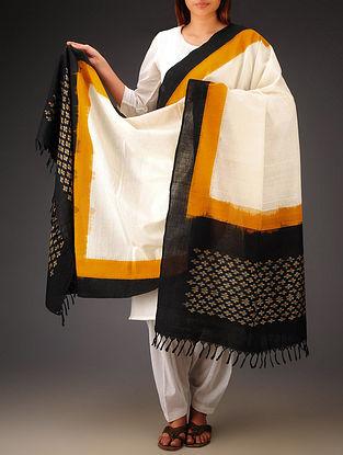 White-Black-Mustard Ikat Missing Stripes Cotton Dupatta