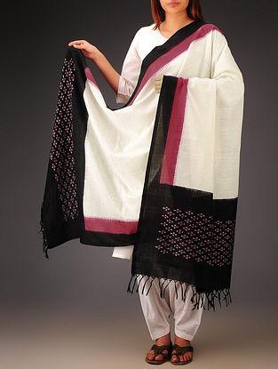White-Black-Pink Ikat Missing Stripes Cotton Dupatta