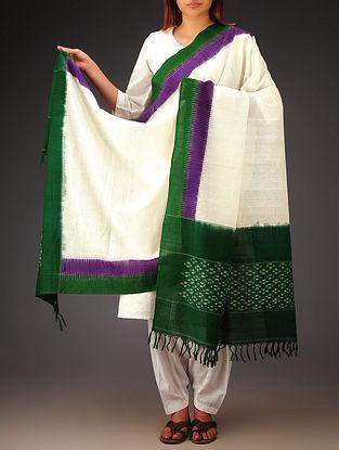 White-Green-Purple Ikat Missing Stripes Cotton Dupatta