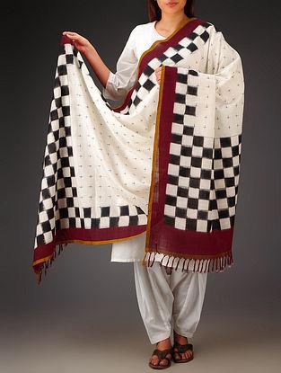 White-Black-Maroon Double Ikat Cotton Dupatta