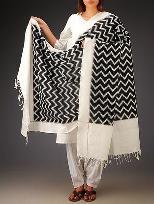White-Black Double Ikat Cotton Dupatta