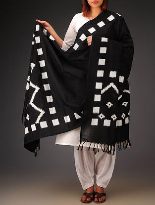 Black-White Double Ikat Cotton Dupatta