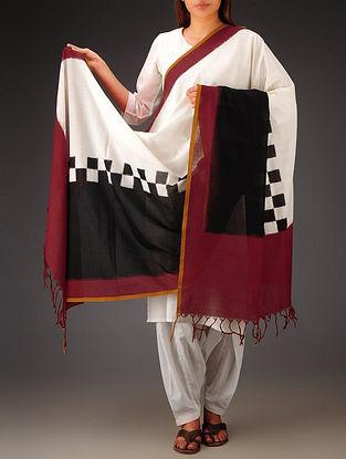White-Black-Red Double Ikat Cotton Dupatta