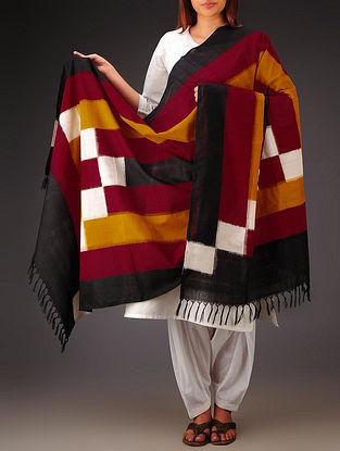 Black-Multi-Color Double Ikat Cotton Dupatta