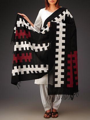 Black-White-Red Double Ikat Cotton Dupatta