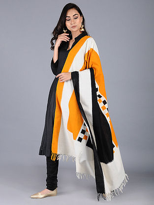 Ivory-Mustard Double Ikat Cotton Dupatta