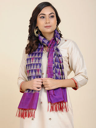 Purple Handwoven Ikat Silk Stole