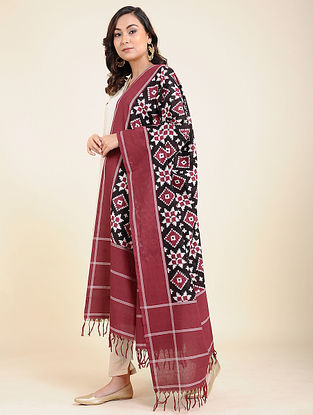 Maroon-Black Handwoven Double Ikat Cotton Dupatta