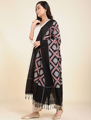 Black-Red Handwoven Double Ikat Cotton Dupatta