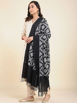 Black-White Handwoven Double Ikat Cotton Dupatta