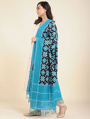 Blue-Black Handwoven Double Ikat Cotton Dupatta