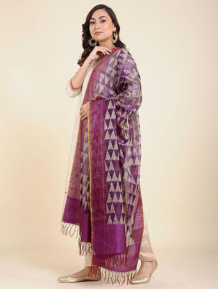Purple-Ivory Handwoven Ikat Silk Dupatta