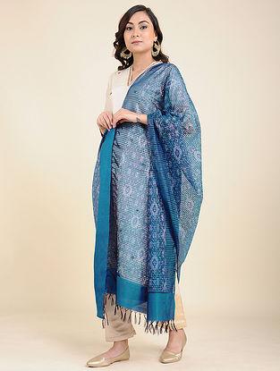 Blue Handwoven Ikat Silk Dupatta