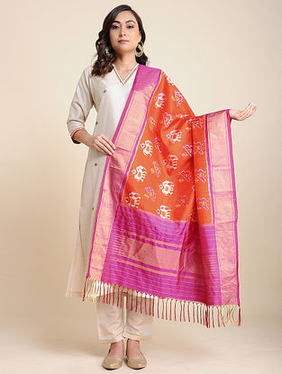 Magenta-Orange Handwoven Ikat Silk Dupatta