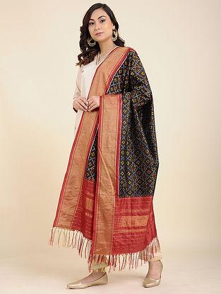 Black-Red Handwoven Ikat Silk Dupatta