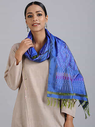 Blue Handwoven Ikat Silk Stole